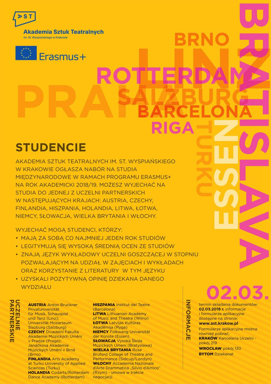 Program Erasmus Rekrutacja Na Studia W Roku Akademickim 201819